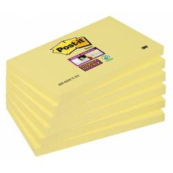Bloczek Post-it Super Sticky 655-12SSCY-EU 127x76mm, 90 kart., żółty