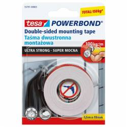 Taśma dwustronna Powerbond Ultra Strong 1, 5xm X19mm transparentna Tesa